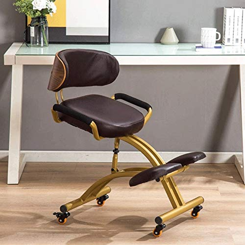 Office Chair with Back Support Middle I Ergonomic Kneeling Chairs, Leather Office Chair with Backrest and Armrest Cotton & Linen Posture Correction Kneel Stool Orthopedic Stool (Color :Black, Brown,