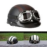 ViZe Casque Bol Demi Ouvert Casque Moto Protection Motocyclette Unisex Avec Visière...