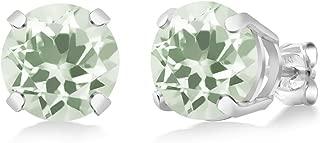 Gem Stone King 3.40 Ct Round Prasiolite Gemstone Birthstone 925 Sterling Silver Stud Earrings 8mm