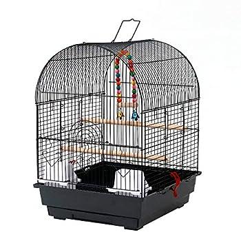 Cage à Oiseaux, Cage dôme en métal pour Animal de Compagnie avec Jouets, 35 x 40 x 50 cm, Noir
