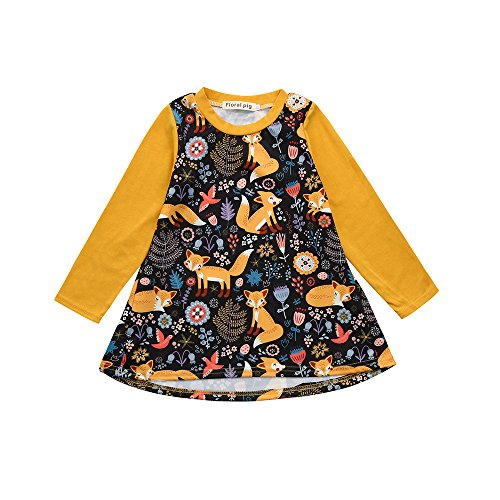XXYsm Baby Kleinkind Mädchen Langarm Kleider Herbst Winter Cartoon Fuchs drucken Prinzessin Kleid Gelb 120/4-5 Jahre