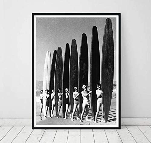 Pinup - Póster de metal para mujer con tabla de surf, para playa, bar, pub, mar, surf, decoración de pared, regalo
