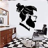 Calcomanías para peluquería, corte de pelo y afeitado, póster de ventana de pared, Mural Hipster, pegatina de pared para barbería, letrero de peluquero A9 42x57cm