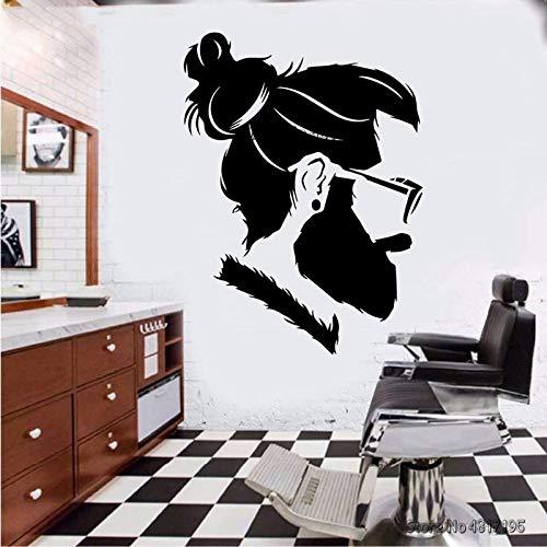 Calcomanías de peluquería, corte de pelo y afeitado, póster de ventana de pared, Mural, hombre inconformista, peluquería, pegatina de pared, letrero de peluquero A2 42x57cm
