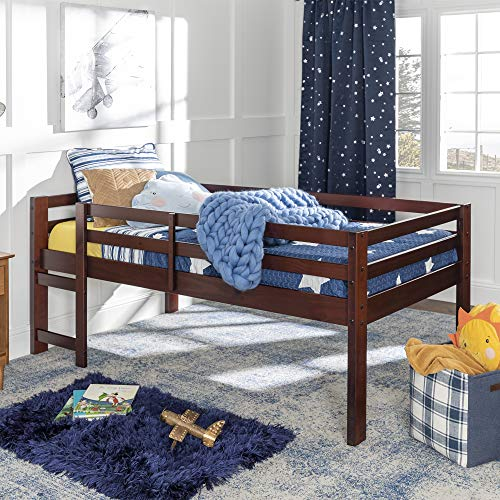 Walker Edison Wood Twin Low Loft Bunk Kids Bed Bedroom with Guard Rail and Ladder, Espresso Brown
