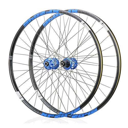 Mountain Bike 26/27.5/29 Inch Wheels, MTB Aluminum Alloy Wheels, Bearing F2/R4, 6 Paw 72click System, Suitable for Road Bikes, Racing Wheel Parts (Black/Blue) (Size : 27.5')