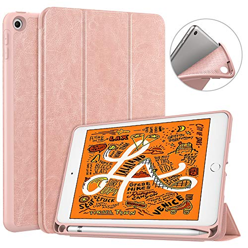 """Dadanism iPad Mini 5 Case 2019 with Pencil Holder, [Strong Protection] Ultra Slim Lightweight Soft TPU Back Trifold Stand Smart Cover Fit New iPad Mini 5th Gen 7.9"""", Rose Gold (Auto Sleep/Wake)"""