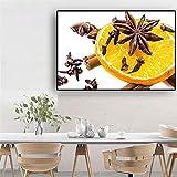 wZUN Fruta limón Suministros de Cocina Carteles e Impresiones en Lienzo Pintura Pop Art Cuadros de Pared como decoración de la Cocina de la Sala de Estar 50x70 Sin Marco