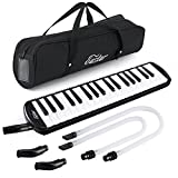 Eastar 37 Keys Melodica Instrument, Soprano Melodica Air Piano Keyboard Pianica with 2 Soft Long Tubes, Short Mouthpieces, Carrying Bag, Black