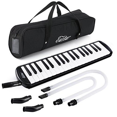 Eastar Melodica 37 Key Klavierstil Melodica Instrument für Kinder und Anfänger mit Mundstücken, Tragetasche, Schwarz