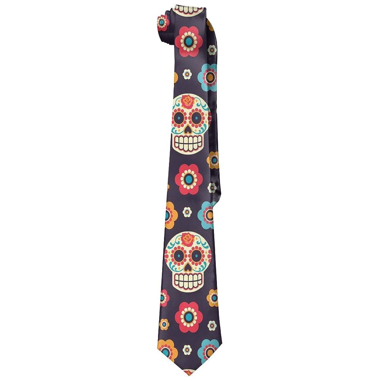 Sugar Skull Face Flower Men's Tie Long Necktie Skinny Neckwear Silk