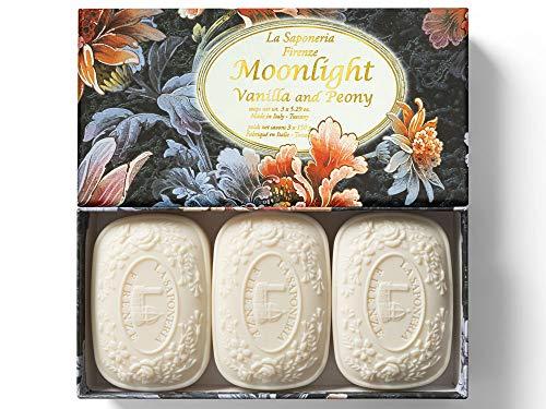 Moonlight, Jabón con aroma de Vainilla y Peonía, pack regalo 3 pastillas...