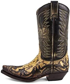 Knee High Boots for men Pointed Toe Embroidered Bike Boots Western Style Motorcycle Knight Boots Low Heel Retro Shoes,Gold-41