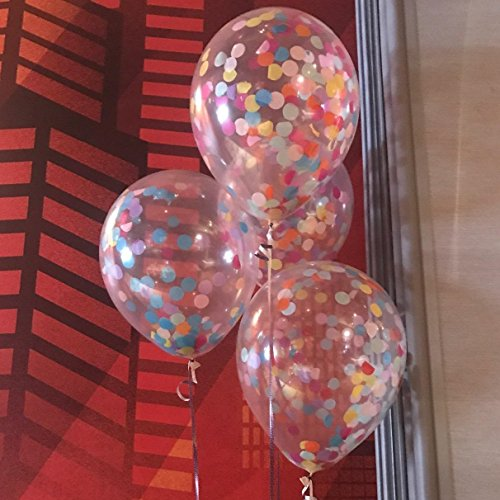 12'' Rainbow Bright Confetti Balloons for Party Decoration (Pack Of 12)