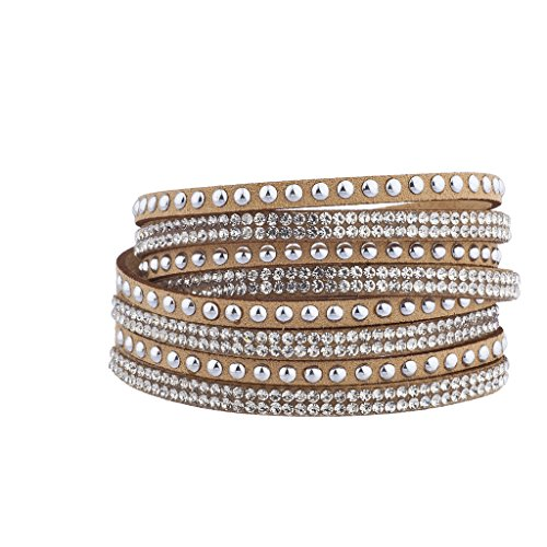 Lux Accessories Tan Suede Sicker Stone Silvertone Studded Wrap Bracelet