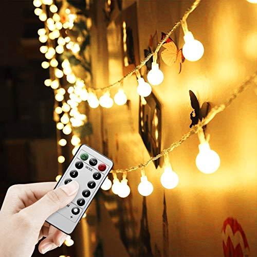 Catena di Lampadine 0.6W 5M 50 LEDs Luci da Esterno Impermeabile con Telecomando e 8 Modalità Controllore per Casa, Festa, Giardino, Bar, Natale, Matrimonio Bianco Caldo