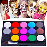 Face Paint Kit for Kids and Adults, 15 Colors Halloween Cosplay Face Makeup Palette, Washable Water Activated Body Face Painting kit with Two Brush