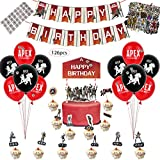 APEX Party Supplies - Party Decoration and Favors, Including 12 Balloons, a Happy Birthday Banner, a Cake Topper, 24 Cup Cake Topper, 55 pcs APEX Stikers and 32 DIY Bullet Hole Stikers, G