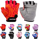 Meteor Unisex Kinder Fahrradhandschuhe Bike - Gel BMX Handschuhe, RED FLOWER, Gr.-Jr XS/ Handweite- 6-6.5cm