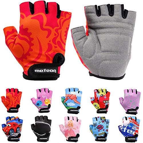 Meteor Unisex Kinder Fahrradhandschuhe Bike - Gel BMX Handschuhe, RED FLOWER, Gr.-Jr S/ Handweite- 6.5-7cm