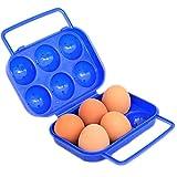 Chytaii Caja de Huevos Envase para Huevos Huevera de Plástico para la Nevera Caja con Tapa Plegable de Plástico para Guardar 6 Huevos Portátil Azul