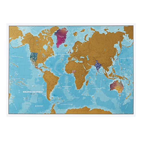 Maps International Scratch the World Watercolor Map – Scratch Off World Map Poster – Most Detailed Cartography - 23 x 33