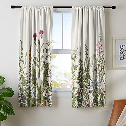 Riyidecor Rustic Flower Curtains Green Leaf Rod Pocket Vintage Floral Colorful Plant HerbsWomen Wildflower Blossom Botanical NatureClassic Bedroom Living Room Treatment Fabric 2 Panels 42 x 63 Inch