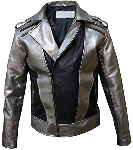 X-Men 4 Quicksilver Peter Maximoff Silver and Black Leather Jacket, Large (Best for Chest Size 44)