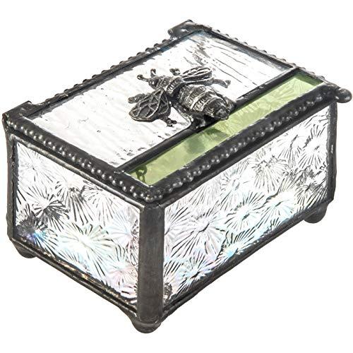 J Devlin Box 753Schmuckkästchen, Biene gebeizt Glas Jewelry Andenken Box Bumble Bee