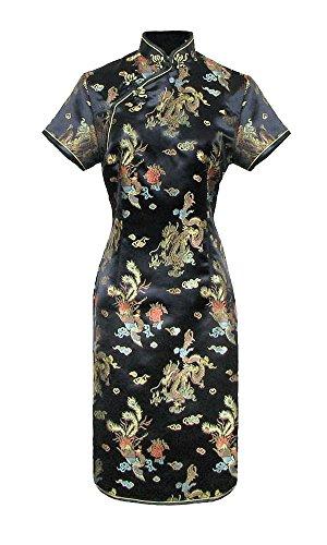 Vestido chino corta negro cheongsam mangas cortas Qipao motivo dragón tamaño 38
