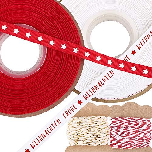 4 Style Weihnachten Geschenkband Weihnachtsbänder Schleifenband Dekoband Stoffband Weihnachten Weihnachts Dekoband Bänder Weihnachten für DIY Basteln Handwerk Baumwollschnur Rot Weiß Gold