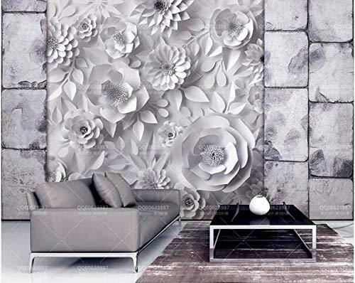 papel pintado 3d tridimensional piedra ladrillo pared origami flor elegante mural sala sofá TV fondo pared pintura papel pintado dormitorio pared mural grande-400cmx280cm