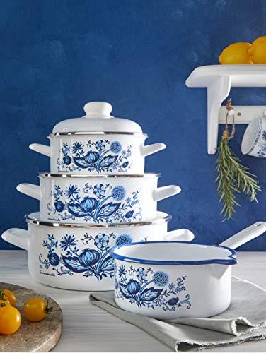 GSW 7tlg. Kochtopf-Set 'Zwiebelmuster' weiß mit blauem Zwieblmusterdekor