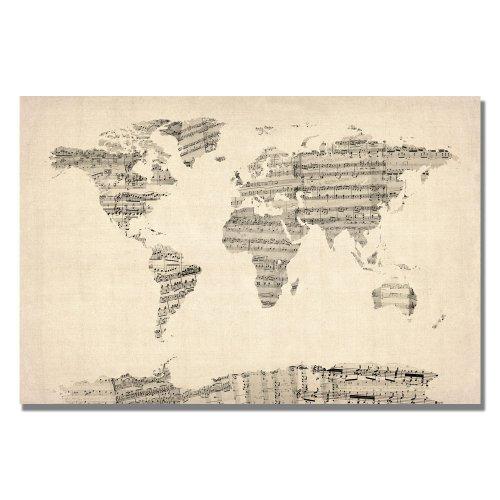 Old Sheet Music World Map Artwork by Michael Tompsett