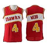 Y de la NBA de los Hombres de Las Mujeres Camiseta de la NBA Atlanta Hawks 4# Spud Webb, de Malla Transpirable de Tela Retro Swingman de Deportes Camisetas,Rojo,M