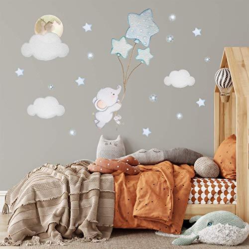 KidsCuteDecorations Wandaufkleber Babyzimmer Elefant | Wandtattoos für Kinderzimmer Junge Blau | Luftballons Wandsticker Grau | Personalisiert Wandtattoo Mädchen | Ballon Sticker | Baby Wanddeko Name