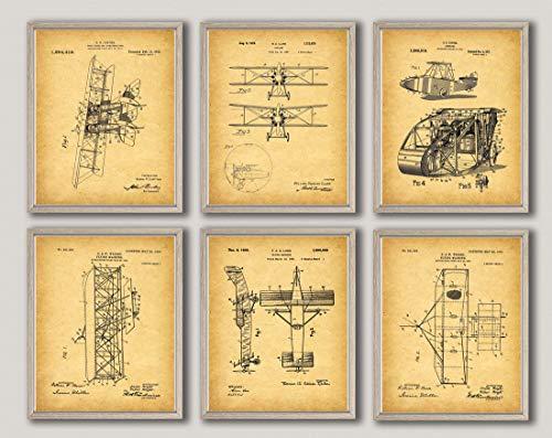 Juego de 6 pósteres de avión para decoración de aviones piloto, aviones, aviones, aviones, regalo de piloto WB308-319, estilo vintage, 20 x 30