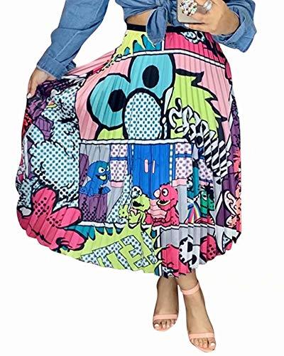 ThusFar Women's Graffiti Pleated Skirts Cartoon Printed Elastic Waist A-Line Swing Midi Skirt Blue Eye S