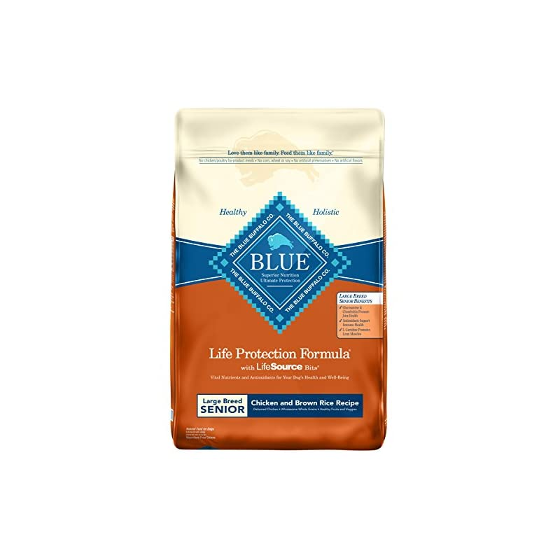 dog supplies online blue buffalo life protection formula natural senior large breed dry dog food, chicken and brown rice 30-lb