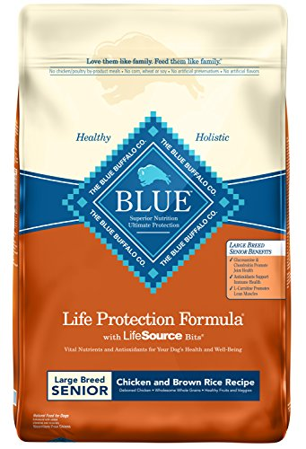 Blue Buffalo Life Protection Formula Large Breed Senior Dog Food Natural Dry Dog Food for Senior Dogs Chicken and Brown Rice 30 lb. Bag