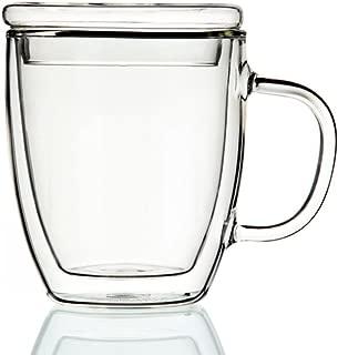 Double-wall 16 oz Borosilicate Glass Coffee Mug Cup(with cap)