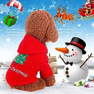 Père Noël pour animal domestique Chat Chien Fantaisie Merry Christmas Tree Motif vêtements en coton à capuche pour chien chat Taille XS S M L XL
