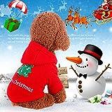 Idepet Santa mascota gato perro traje feliz árbol de navidad patrón ropa algodón sudadera con capucha para perro gato