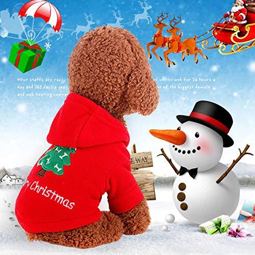 Idepet Santa mascota gato perro traje feliz árbol de navidad patrón ropa algodón sudadera con capucha para perro...