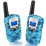 Walkie Talkie, T-388 Funkgerät Kinder Walky Talky Spielzeug 8 Kanäle 3KM Reichweite Walki Talki mit LCD Bildschirm eingebaute Taschenlampe für ab 3jahre Junge Geschenk 2er-Set Hellblau Tarnung