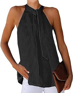 desolateness Womens Denim Sleeveless Tie Neck Vest Tee Loose Solid Tank Top