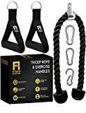 Tricep Rope Cable Attachment 35 Inch with 2 Exercise Handles + 3 Carabiner Clips - Cable Machine Attachments - Tricep Pull Down Rope - Cable Attachments for Gym, Home Gym Accessories