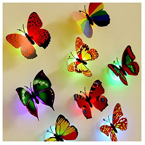 kingko 3D Butterflies Wall Sticker Set of 10 Wall Decoration LED Lichter Wandaufkleber 3D Haus Dekoration Kunststoff + elektronische Komponenten + Simulation Schmetterling (zufällig 1)
