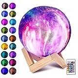 Laelr Moon Lampe, 16 Farben 3D gedruckt Vollmondlicht USB Wiederaufladbare LED Nachtlicht Moderne Stehleuchte Dimmbare Touch Control Tischlampe Helligkeit Licht für Weihnachten...