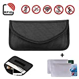 Newseego RFID Signal Blocker Pouch | 2X Free RFID Credit Card Sleeves | Anti Theft Faraday Bag for Car Key Fob & Cell Phone Blocking Pocket, Security Keyless Case Anti-Hacking Secure Antitheft(Black)